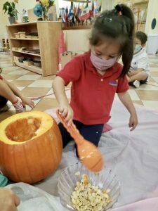 Halloween pumpkin making