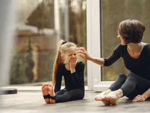 mother daughter exercise at home