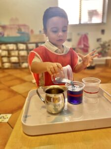 Child in montessori classroom